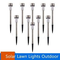 Luz solar de aço inoxidável de led, luz para gramado para jardim, decorativa, para áreas externas, vara, luz branca, 10/pçs/lote