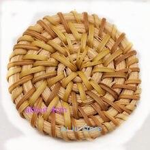 Модные DIY Деревянные соломенное плетение, Ротанговые аксессуары круглой формы лоза оплетка серьги фурнитура 10 штук y12266