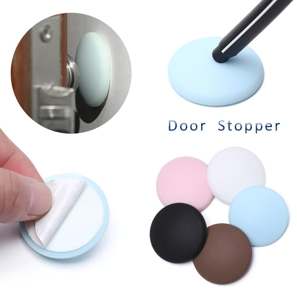 Creative Wall Protector Door Handle Bumper Guard Stopper Anti-slip Sticker Self Adhesive Rubber Round Door Crash Pad Door Stops