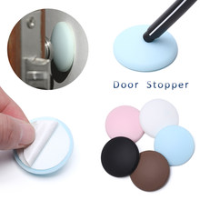 Creative Wall Protector Door Handle Bumper Guard Stopper Anti-slip Sticker Self Adhesive Rubber Round Door Crash Pad Door Stops(China)