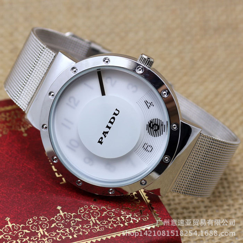 2015 New Brand Famous Silver Disk Pointer Casual Quartz Watch Women Metal Mesh Watches Relogio Feminino Unisex Clock Black Hot 2017 new famous brand men black casual quartz watch women metal mesh stainless steel dress watches relogio feminino clock