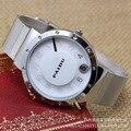 2015 Nova Marca Famosa Prata Disco Ponteiro Relógio de Quartzo Casuais Mulheres de Malha de Metal Relógios Relogio feminino Unisex Relógio Preto Quente