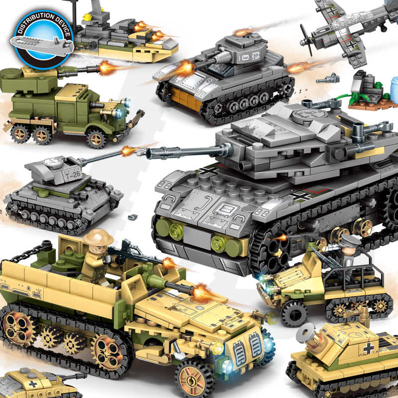 Building Blocks 1061pcs Military Series Helicopter ww2 Figures Weapon Gun Soldiers Tank Educational Toys for Children Gift