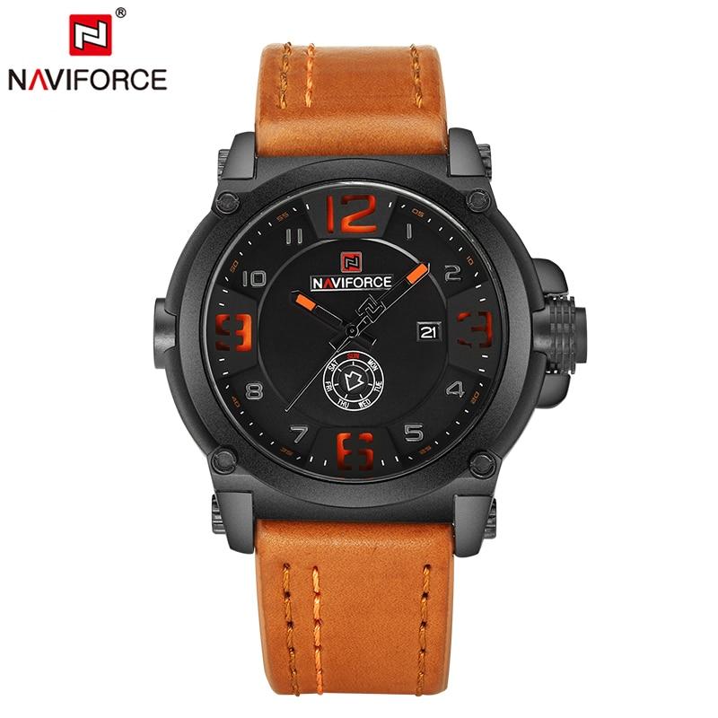 NAVIFORCE New Men Watches Luxury Original Brand Military Sports Watch Man Leather Waterproof Quartz Hour Clock Male Wristwatches