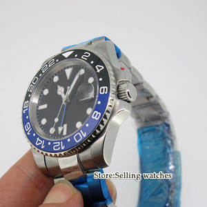 Image 3 - 40mm PARNIS Black dial GMT Sapphire Date อัตโนมัตินาฬิกานาฬิกาผู้ชาย