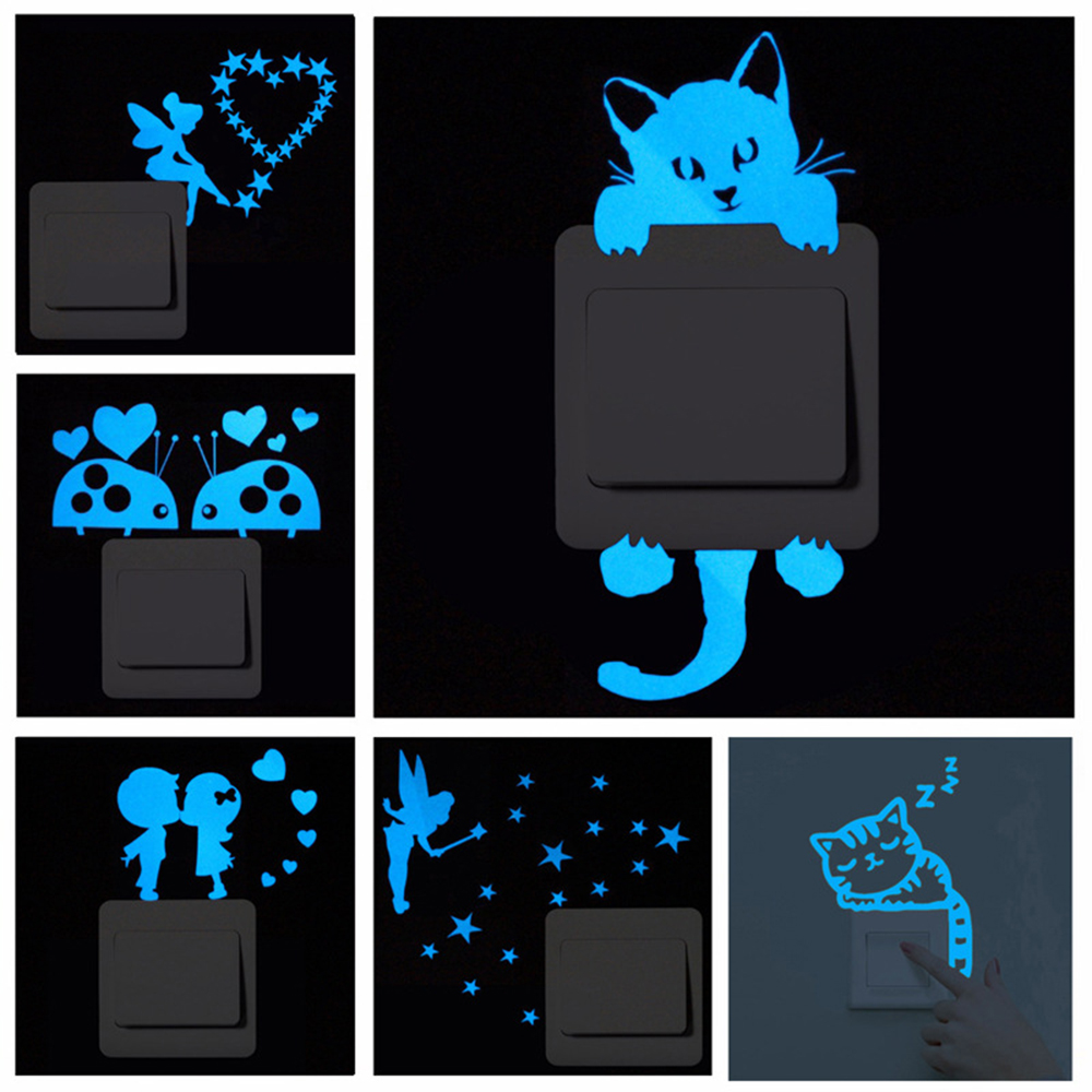 Blue-light Luminous Switch Sticker Glowing Wall Sticker Home Decor Kids Room Decoration Sticker Decal Cat Fairy Moon Star(China)