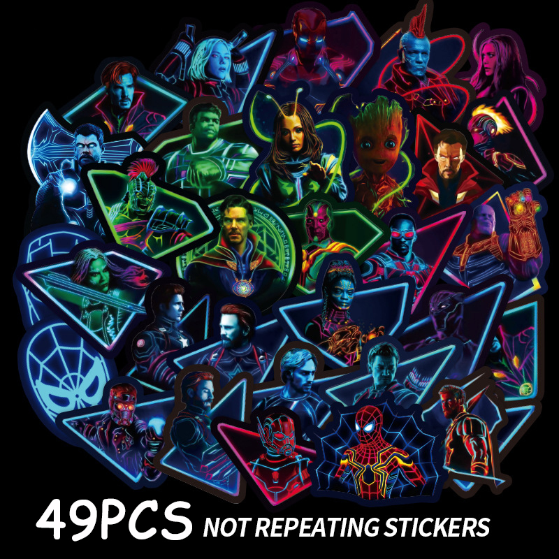 NEW 49Pcs Mixed Super Hero Stickers Cartoon Anime Sticker For Motorcycle Laptop Skateboard Neon Stickers Marvel Stickers Sets F4