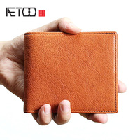 AETOO Original retro men's short leather wallet men's leather wallet youth tide soft wallet men's bag