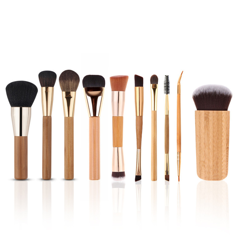 10PCS/set Pro Makeup Brush Kits Bamboo Aluminum Handle Top Quality Lips Eye Blush Contour Brushing Brush Cosmetic Tools