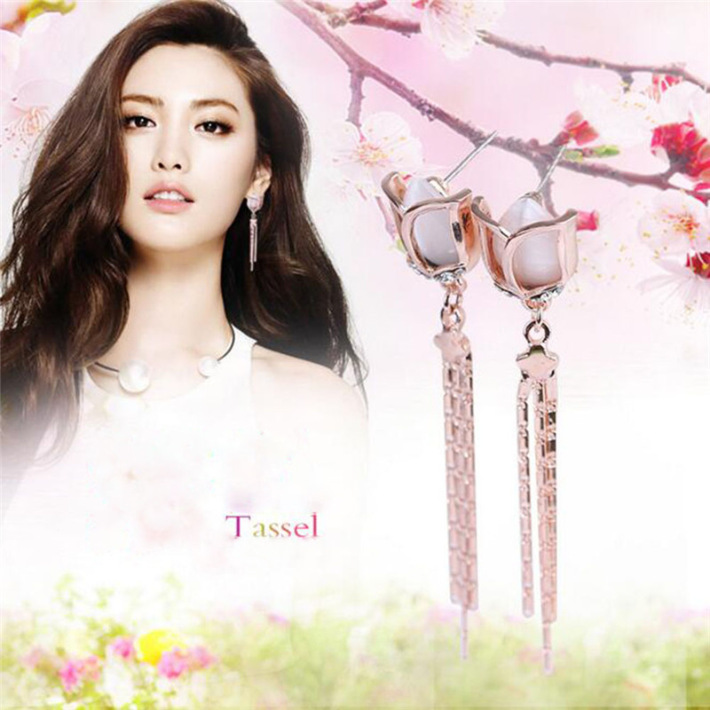 Grace Jun High Quality Long Rose Flower Shape Tassel  Clip on - Fashion Jewelry - Photo 5