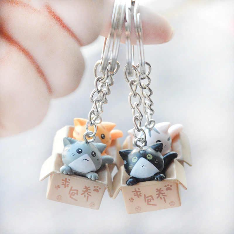 Colorido Caixa de Personalidade Criativa Bonito Pequeno Gato Chaveiro Para As Mulheres Homens Kawaii Chaveiro Moda Chaveiro Carta Bonito Jóias