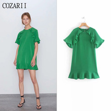 COZARII 2019 summer dress women vestidos casual style solid O-Neck ruffles short sleeve mini de fiesta party