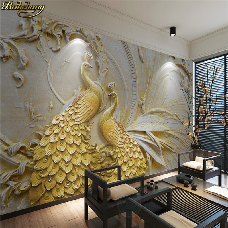 Beibehang Custom Photo Wallpaper Murals 3D Relief Golden