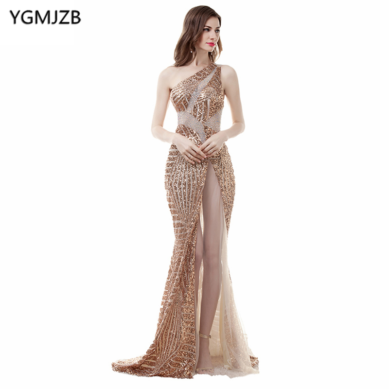 Long Sequin   Evening     Dresses   2019 Mermaid One Shoulder Sexy See Through Backless Beaded Prom   Dresses   African Formal Prom Gown