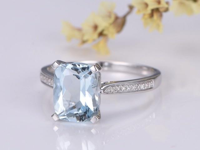 Myray Naturalne Poduszki Niebieski Akwamaryn Diament Pierścionek