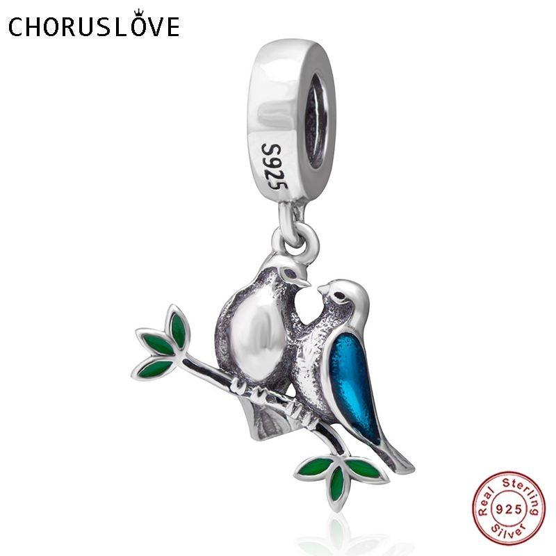 Choruslove 925 Prata Esterlina Contas de Aves Casal Dos Namorados Amor Pingente Charme fit Pandora DIY Pulseiras SS3675