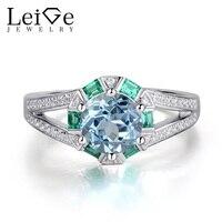 Лейдж Jewelry синий природный Аквамарин кольцо стерлингового серебра 925 Свадебные Кольца для Для женщин Круглый Cut зубец Установка Ювелирные и
