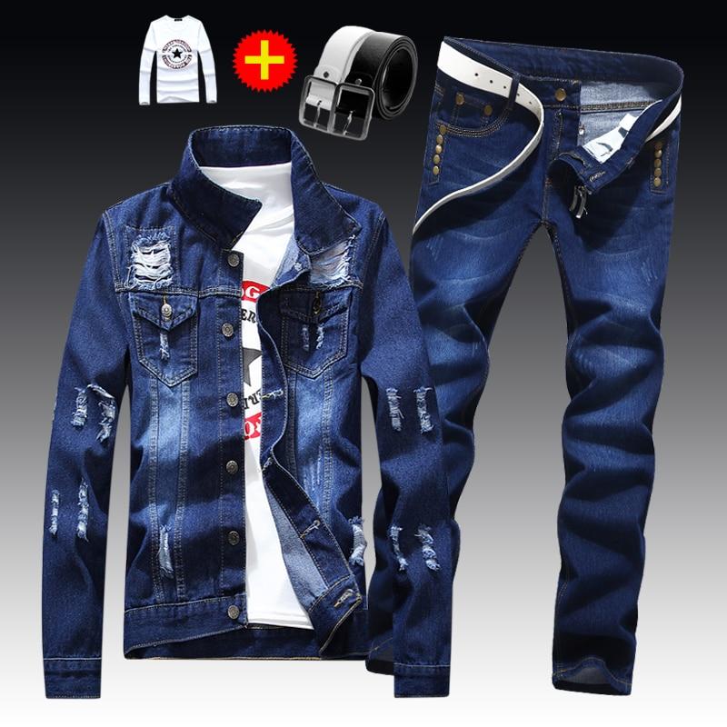 2020 Spring Autumn Mens Slim Fit Denim Jacket Pants Long Sleeve Coat Casual 2 Pieces Set Buttons Front