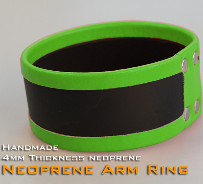 (RD1121)Luxury Customize Handmade 4mm Thickness Neoprene Arm Ring Green Fetish Wear