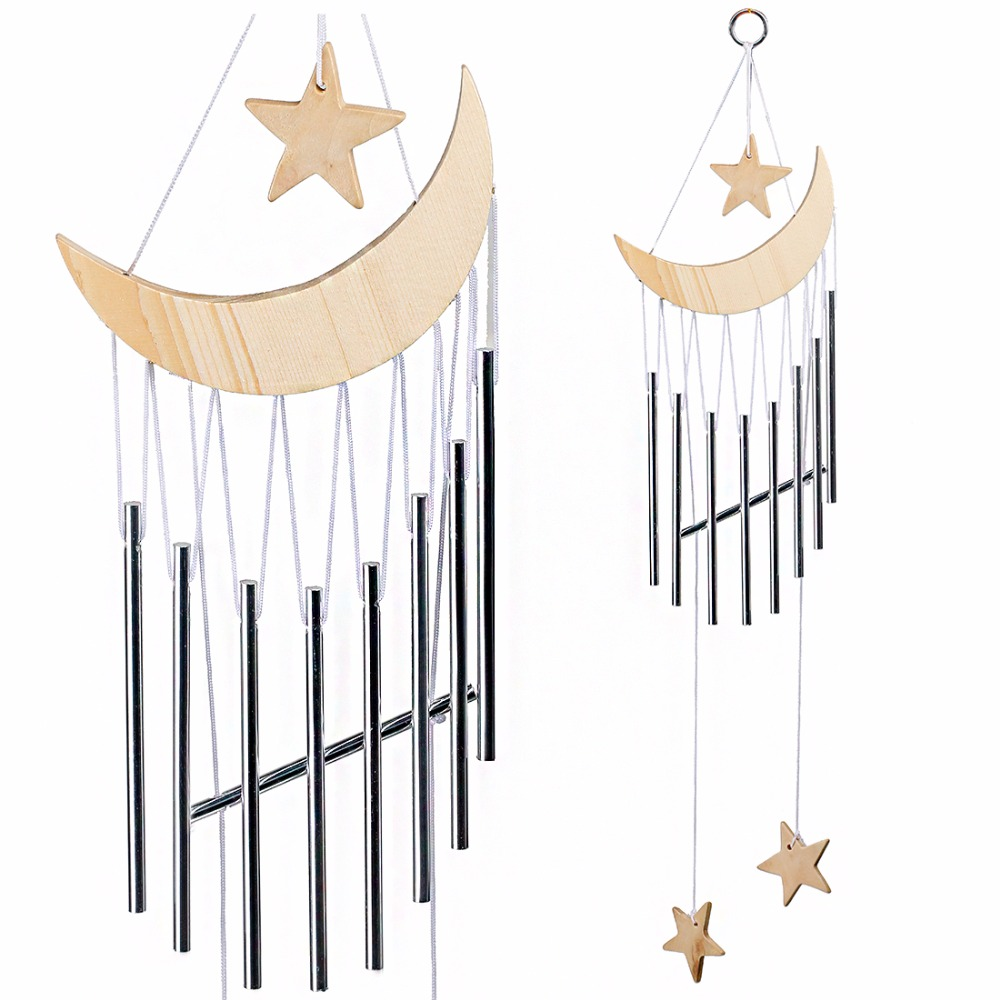 High Quantity Handmade 9 Tubes Wooden Moon Star Windchime Yard Garden Outdoor Living Hanging Home Decor Craft Birthday Gift