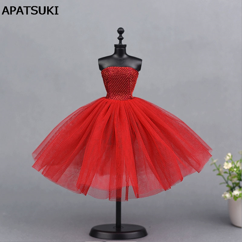 Red Short Ballet Dress For Barbie Doll One Piece Evening Dresses Vestido Clothes For Barbie Dolls 1/6 BJD Doll Accessories