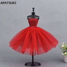 Red Short Ballet Dress For Barbie Doll One Piece Evening Dresses Vestido Clothes For Barbie Dolls 1/6 BJD Doll Accessories(China)