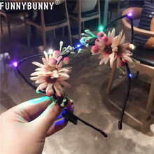 FUNNYBUNNY LED Glowing Flashing Flower Cat Animal Ears Headband Blinking Hair Accessories
