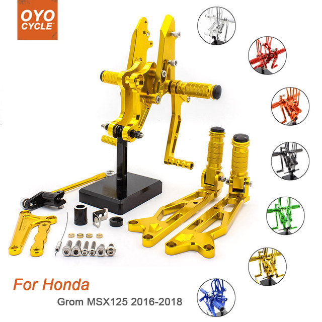 For Honda Grom MSX125 2016-2018 Motorcycle Rear Set Accessories CNC Adjustable Rearset Foot Pegs Grom MSX125 Foot Rests Footpegs