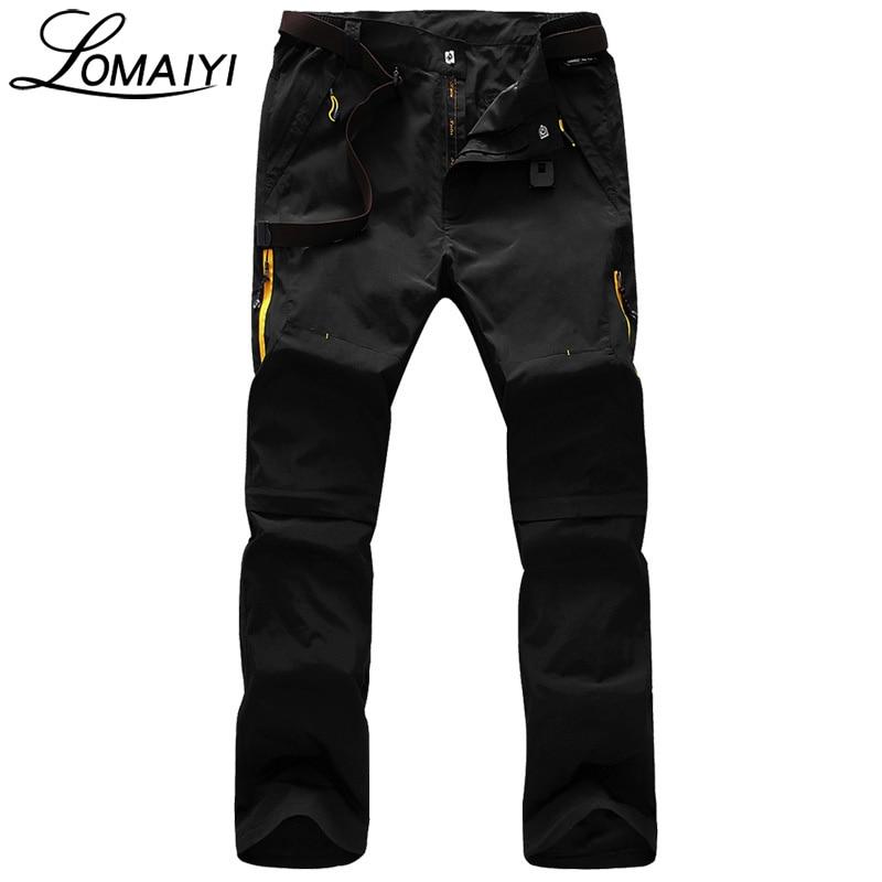 LOMAIYI Removable Legs Men Casual Pants 2018 Summer Fashion Male Sweatpants Amy Green Thin Trousers Khaki Mens Cargo Pants,AM096