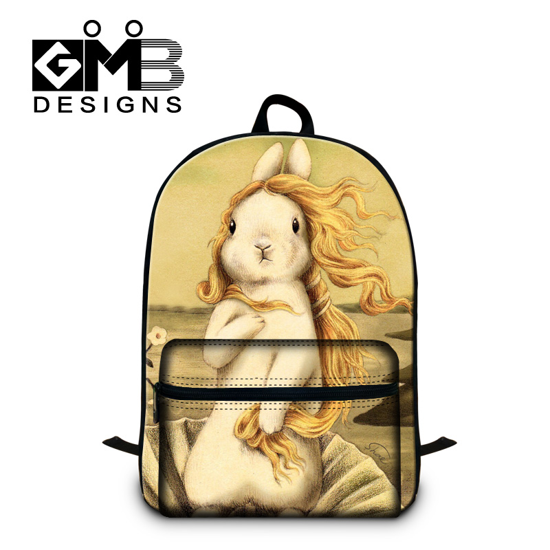 Dispalang Rabbit Paintings School Bags For Teenage Mens Womens Laptop Backpack Kids Schoolbag Student Book Bag Mochila Escolar