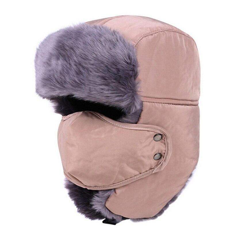 New Men russian Winter fur ushanka hats Windproof Thick warm winter snow  women cap Face Mask f0ff825c327