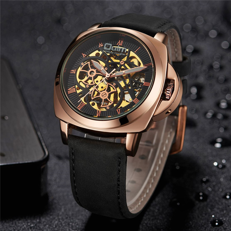 Oulm Mechanical Wristwatches Automatic Self-Wind Male Watch Casual Leather Strap Watches Men Luxury Brand Business Watch цена и фото