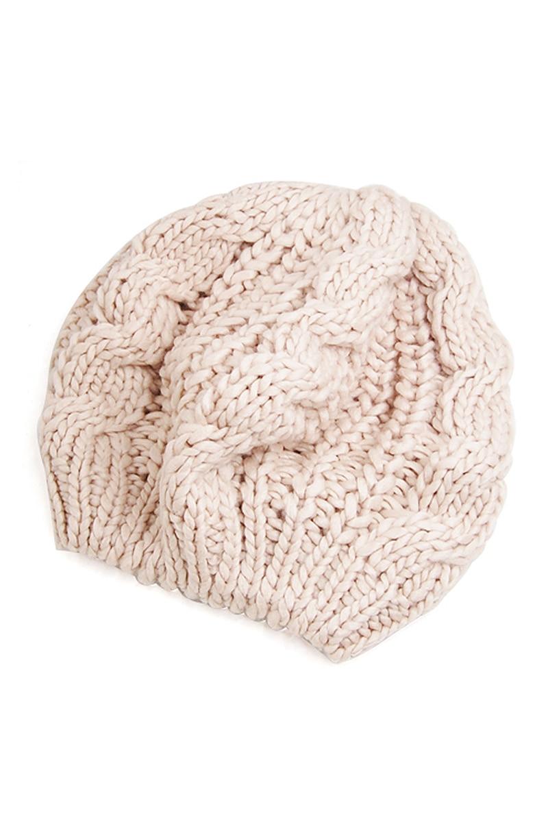 Lady's Warm Knit Braided Ski Cap Baggy Beanie Crochet Hat - Beige hot winter beanie knit crochet ski hat plicate baggy oversized slouch unisex cap