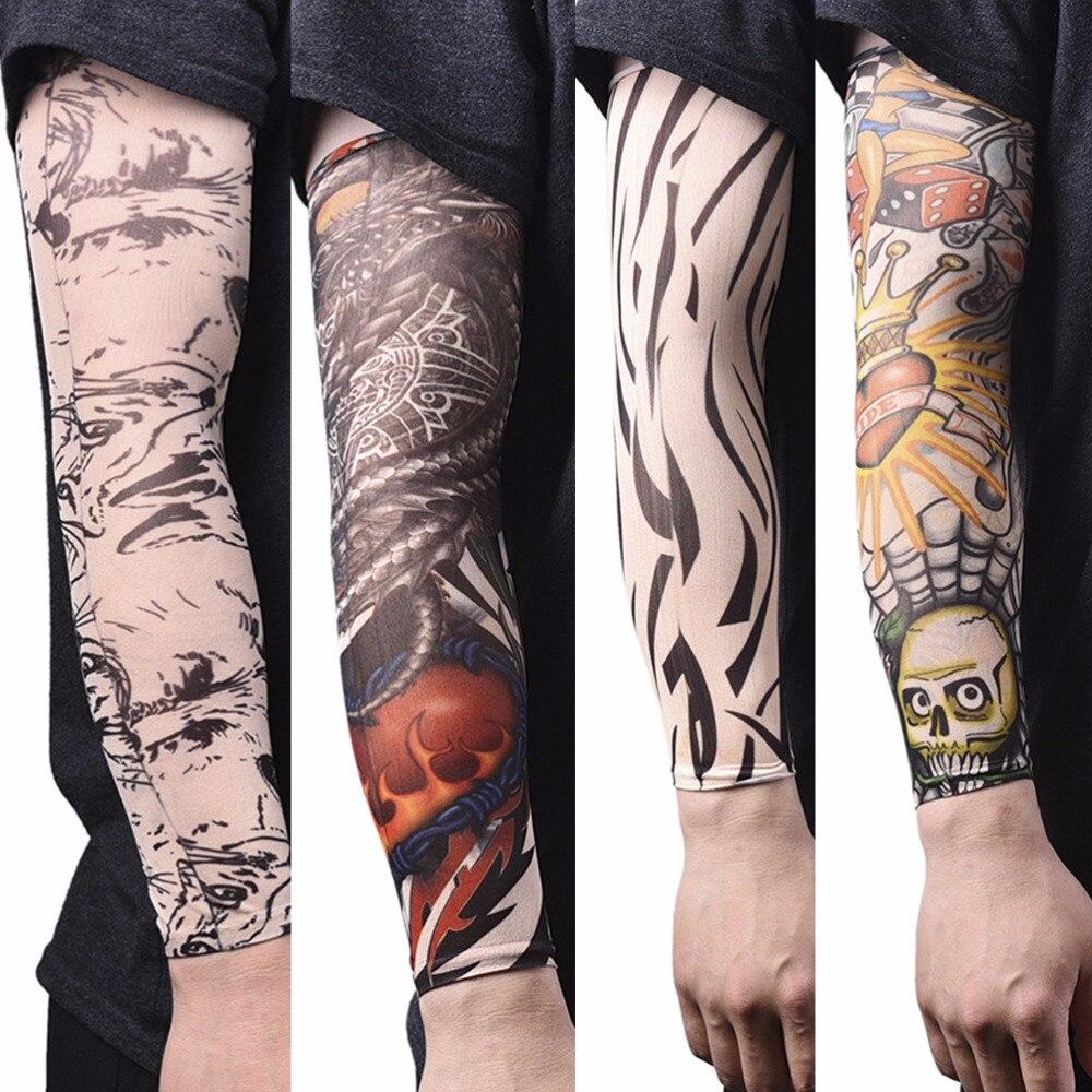 Men Arm Warmer Stockings Nylon Temporary Tattoo Sleeves Elastic Tattoo Sleeves Sport Skins Sun Protective Seamless Fake Tattoo