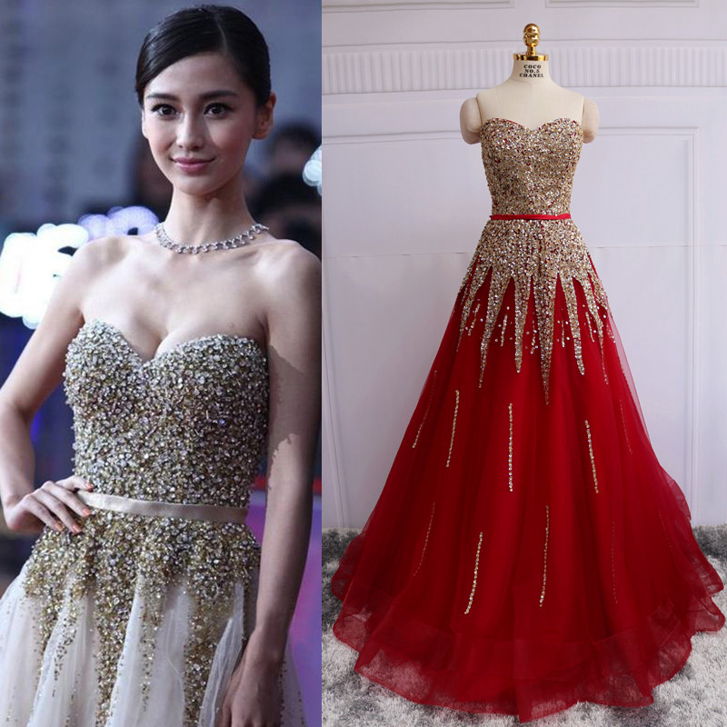 Robe soiree rouge strass