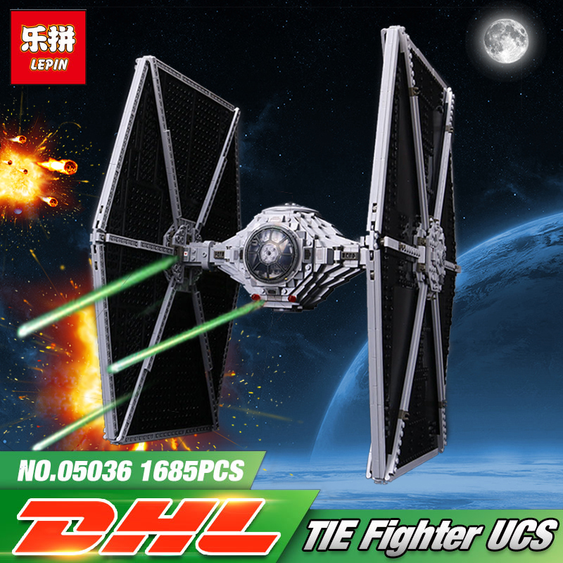 1685Pcs LEPIN 05036 Star Series War Tie Model Fighter Set Building blocks Bricks Classic Compatible legoing 75095 Boys Gifts dhl lepin 05055 star series military war the rogue one usc vader tie advanced fighter compatible 10175 building bricks block toy