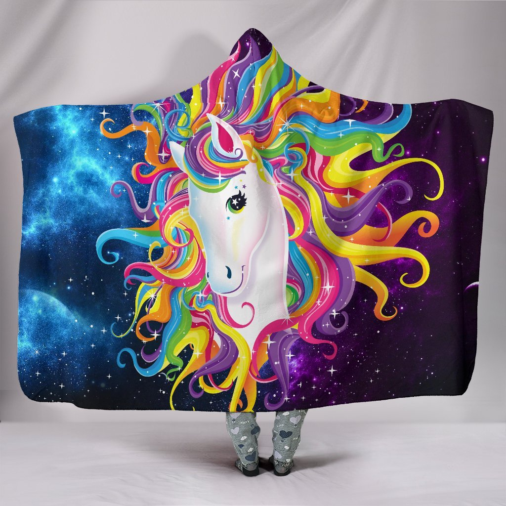 BLINK BLINK UNICORN COLORFUL CURLY 3D HOODED BLANKET STORE FOR SALE