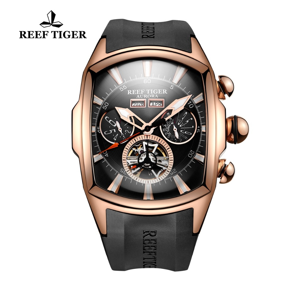 Reef Tiger/RT Luxury Watches Men's Tourbillon Analog Automatic Watch Rose Gold Tone Sport Wrist Watch Rubber Strap RGA3069