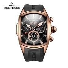 Мужские наручные часы с турбийоном Reef Tiger/RT, спортивные аналоговые автоматические часы цвета розового золота с резиновым ремешком, RGA3069