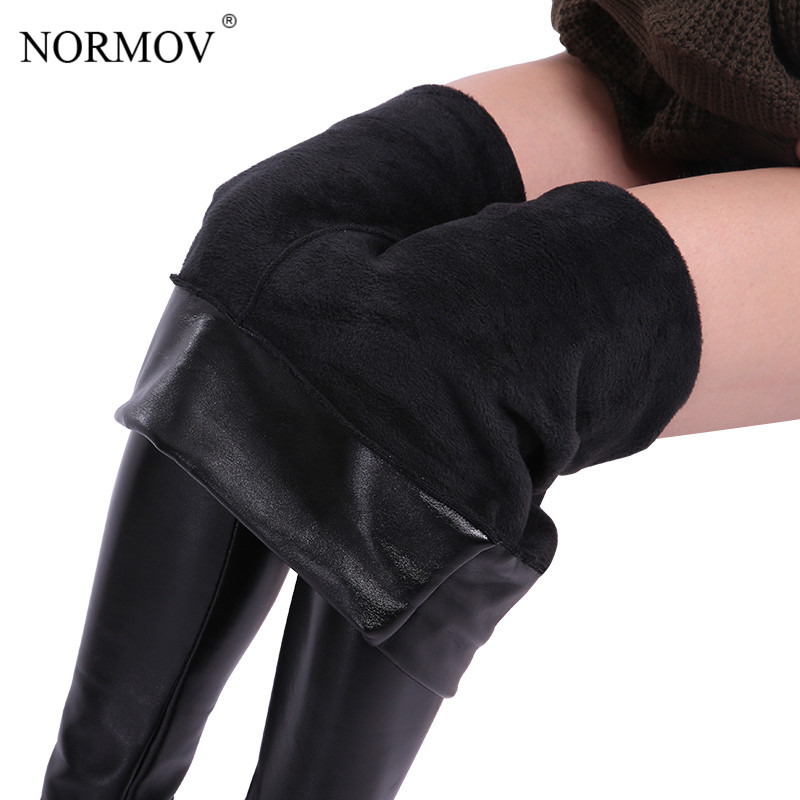 NORMOV Winter Warm Leather   Leggings   Plus Size Women Clothing Plus Thick Velvet Pants Female Solid Black High Waist Legins Gothic