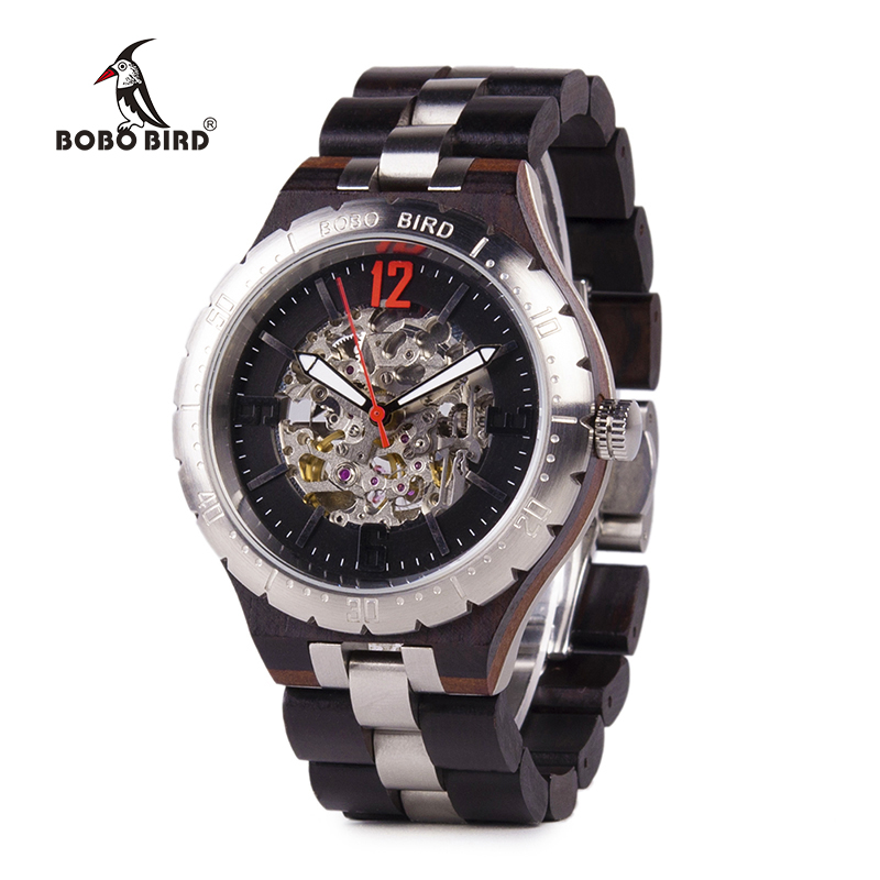 BOBO BIRD Automatic Mechanical Watches Men Wooden Wristwatch Japanese movement Stainless steel Male forsining in Gift Wood Box