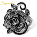 Ajojewel #7-9 Black Rose Flower Big Vintage Rings For Women Unique White Gold Plated Retro Crystal Rhinestone Jewelry Gift