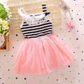 1-4Y Toddler girls Stripped Dress Lace Mesh Bownot Baby TuTu Dresses Kids Party Clothing