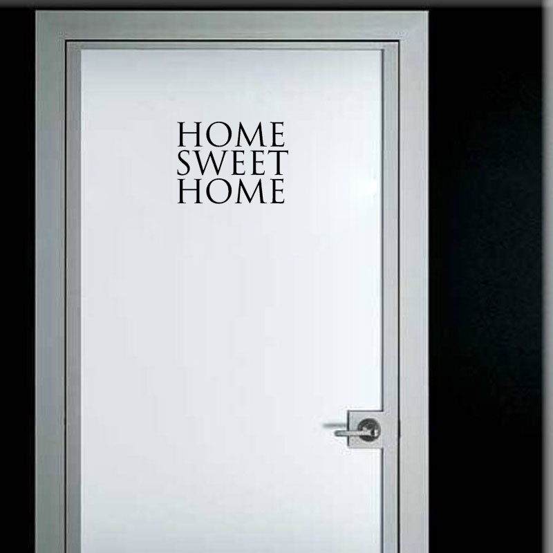 YOJA 23*17CM Simple Home Sweet Home Wall Sticker Accessories Door Decal Black Graphical A40320