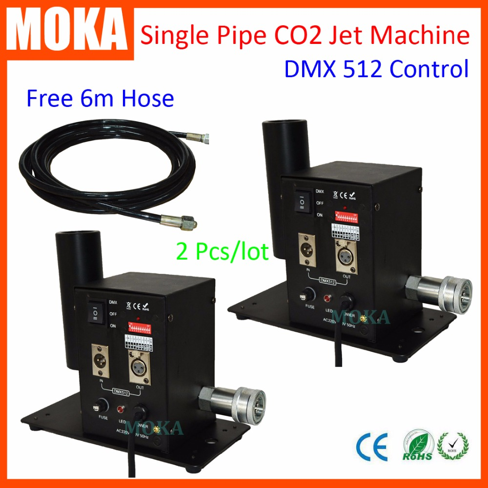 2 pcs/lot Wholesale DMX 512 Stage Co2 Jet Machine dry ice fog effect,CO2 smoke machines Special Effects Cannon 8m stage co2 jet effect machine high pressure resin hose to connect with co2 gas tank