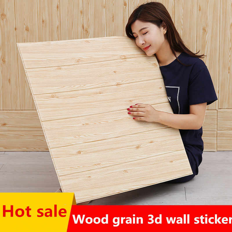 3D stereo wall stickers waterproof moisture proof mildew foam wallpaper self-adhesive decorative ceiling wood grain stickers