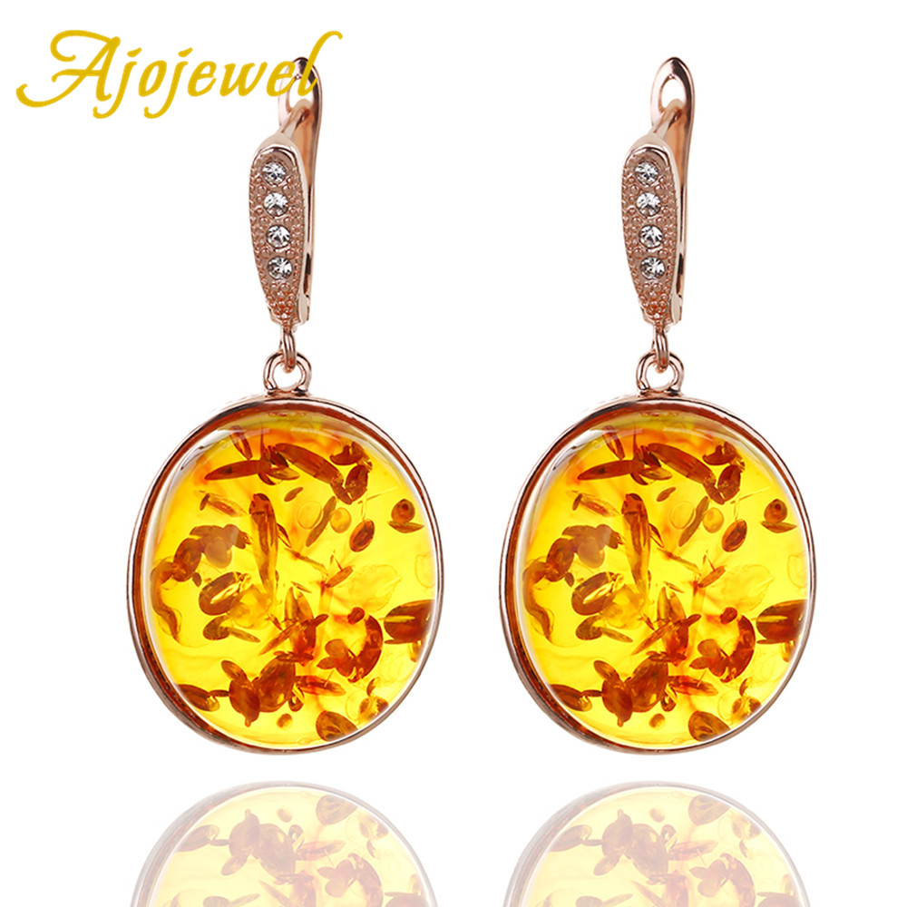 Ajojewel Hot Sale Top Quality Big Oval Orange Stud Earrings Exaggerated Trendy Style For Women Jewelry