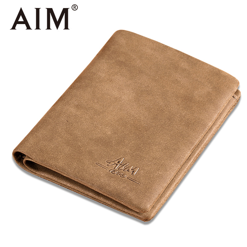 AIM 100% Genuine Leather Wallet for Men Large Capacity Swede Leather Bifold Men Wallets Vintage Short Purse Carteira Masculina baellerry small mens wallets vintage dull polish short dollar price male cards purse mini leather men wallet carteira masculina