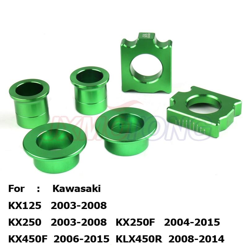 Cnc Voor Achter Billet Wiel Hub Spacers Kettingspanner As Blok Voor Kx125 Kx250 Kxf250 Kxf450 Motorfiets Motorcross Crossmotor