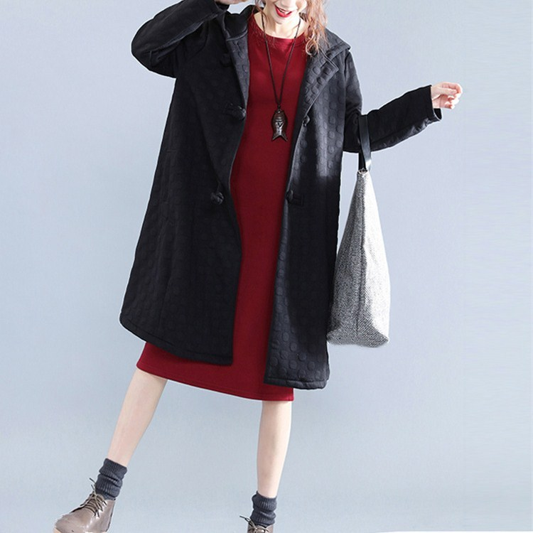 New Autumn Winter Cotton Polyester   Trench   Pockets Women Button Hooded Outerwear Black Vintage Thin Loose Coats